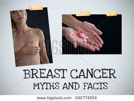 Breast cancer myth and facts text and Breast Cancer Awareness Photo Collage