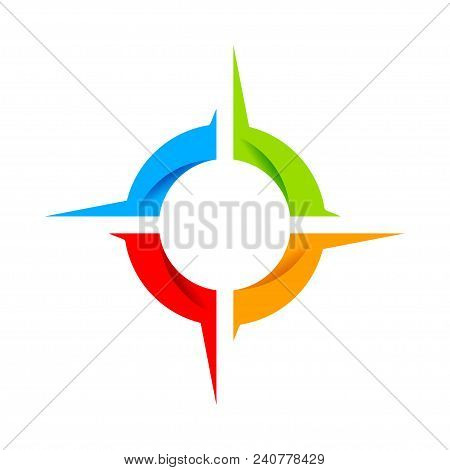 Social Compass Wheel Vector Symbol Graphic Logo Design