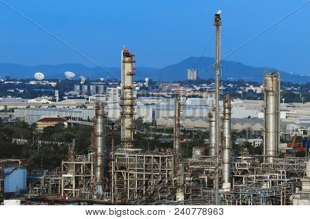 Oil Refiery Plant,oil Tank And Oil Storage At Sunset.thai Oil Refinery In Thailand.