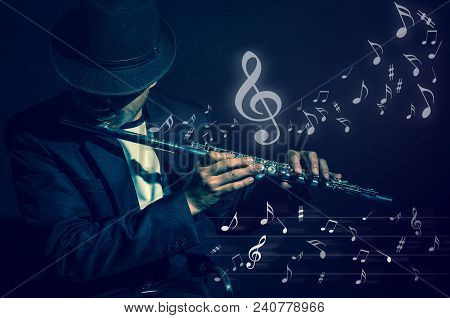 Flute Music Playing Flutist Musician Performer With Music Notes On Black Background, Musical Instrum