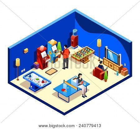 Vector Isometric People Resting In Cross Section Recreation Room With Entertainment And Amusements -