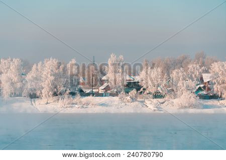 Winter Landscape Of Small Town In Countryside Area Of Siberia, Russia