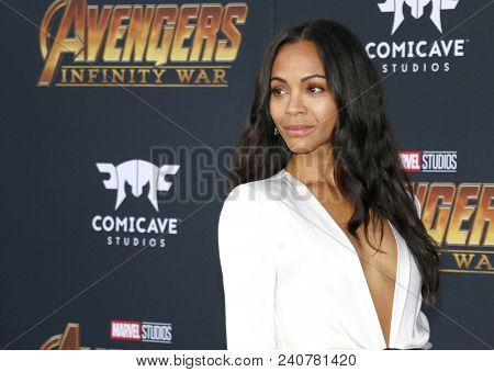 Zoe Saldana at the premiere of Disney and Marvel's 'Avengers: Infinity War' held at the El Capitan Theatre in Hollywood, USA on April 23, 2018.