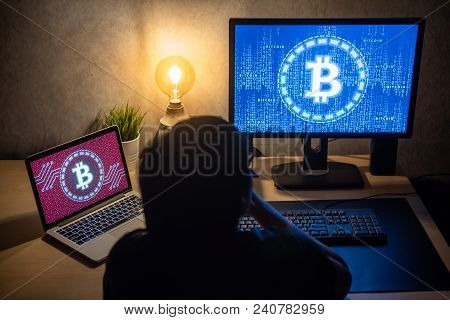 Male Investor Feeling Stressed And Frustrated Due To Bitcoin Crisis With Blue And Red Binary Code On