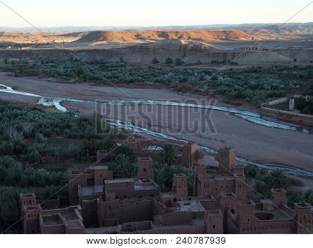 Kasbah Ait Ben Haddou Or Benhaddou Fortified City And Beautiful Landscapes Of River At Oasis On Afri