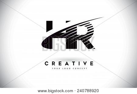 Hr H R Letter Logo Design With Swoosh And Black Lines. Modern Creative Zebra Lines Letters Vector Lo