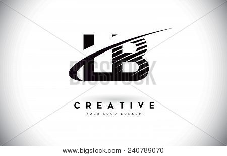 Lb L B Letter Logo Design With Swoosh And Black Lines. Modern Creative Zebra Lines Letters Vector Lo