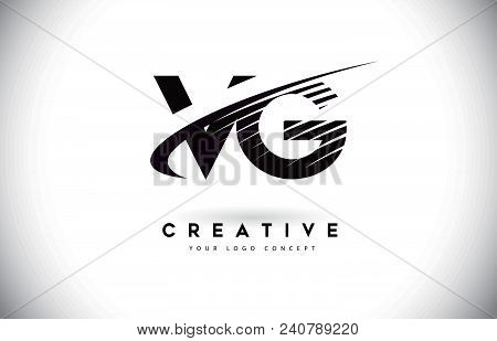 Vg V G Letter Logo Design With Swoosh And Black Lines. Modern Creative Zebra Lines Letters Vector Lo