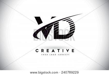 Vd V D Letter Logo Design With Swoosh And Black Lines. Modern Creative Zebra Lines Letters Vector Lo