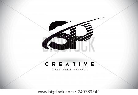 Sp S P Letter Logo Design With Swoosh And Black Lines. Modern Creative Zebra Lines Letters Vector Lo