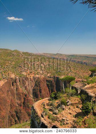 Panorama View To Plateau Dixam And Gorge Wadi Dirhur At Socotra Island, Yemen