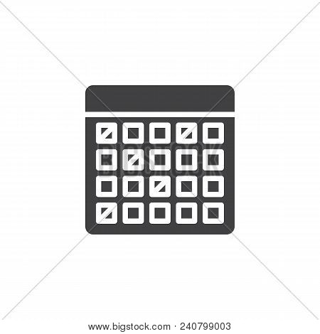Calendar Vector Icon. Filled Flat Sign For Mobile Concept And Web Design. Vacations Organizer Simple