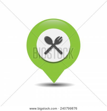 Gps Map Pointer With Symbol Restaurant. For Location Map. Mark Icon. Sign For Gps Navigation. Index