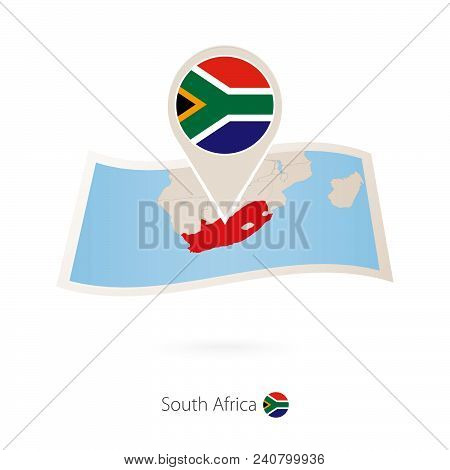 Folded Paper Map Of South Africa With Flag Pin Of South Africa. Vector Illustration