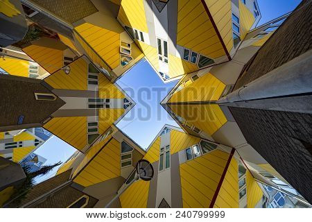Rotterdam, 13 March 2016 - Up And Central View Of Rotterdam Cubic Houses, Netherlands