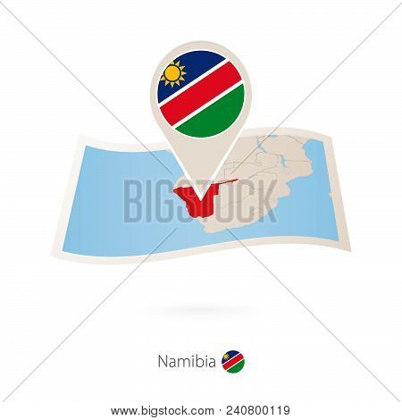 Folded Paper Map Of Namibia With Flag Pin Of Namibia. Vector Illustration