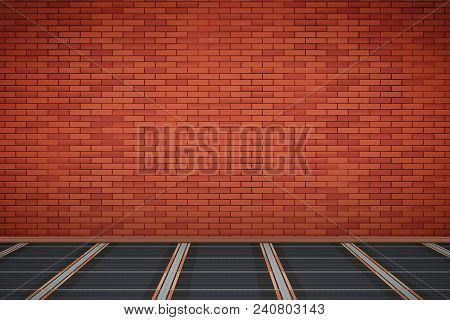 Brick Wall In Room With Infrared Heating Floor. Simple Interior Without Furnish And Furniture. Floor