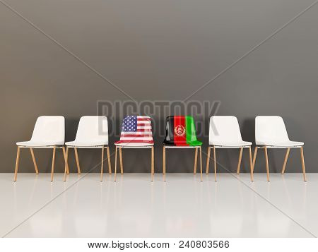 Chairs With Flag Of Usa And Afghanistan