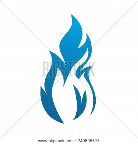 Blue Flame Icon Vector Design. Colored Flame Or Fire Vector Icon Design