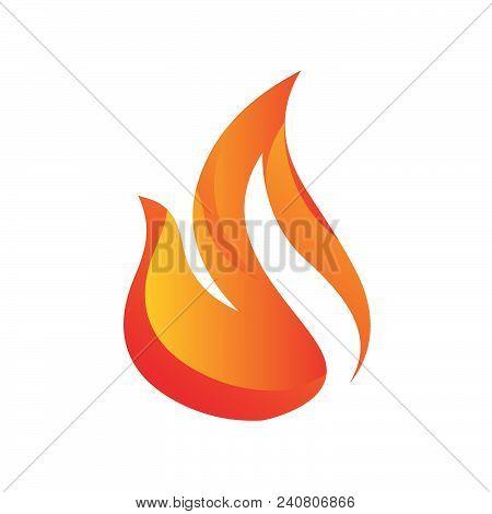 Flame Icon Vector Design. Colored Flame Or Fire Vector Icon Design