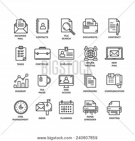 Business And Office Work. Documents, Paperwork. Businessman. Thin Line Black Web Icon Set. Outline I