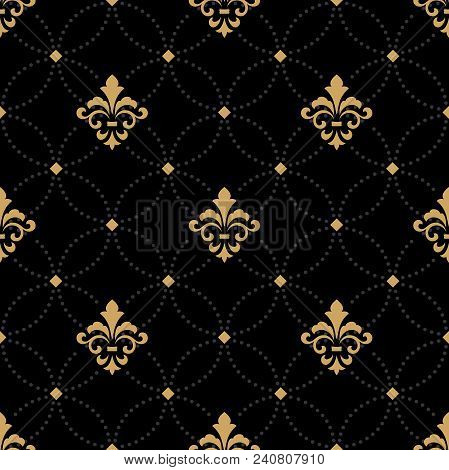 Wallpaper In The Style Of Baroque. A Seamless Vector Background. Gold And Black Floral Ornament. Gra