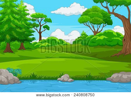 Forest Scene With Many Trees And River Illustration