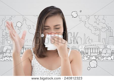 Asian Woman In White Dress Catch Her Nose Because Of A Bad Smell Against Cartoon City Background.