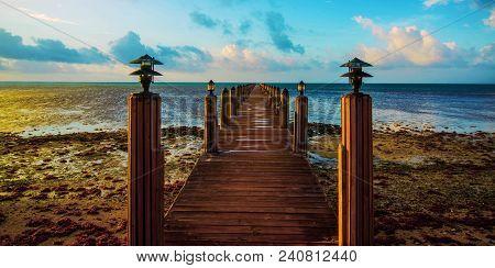 Meditation: Boat Dock At Sunrise, Islamorada, Florida