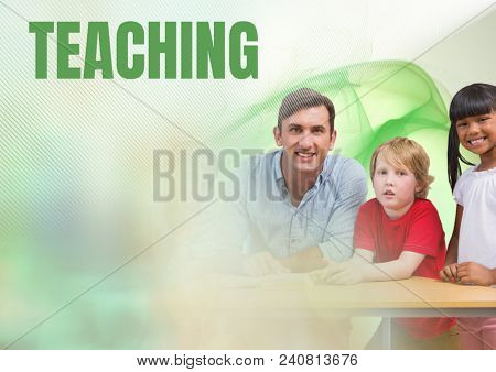 Teaching text and Elementary school teacher with class