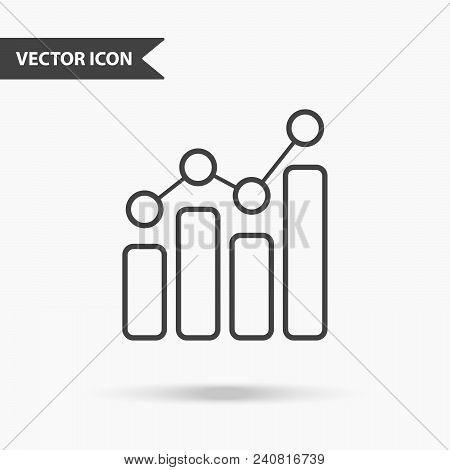 Modern And Simple Vector Illustration Of A Graph Icon With Dots. Flat Image With Thin Lines For Appl