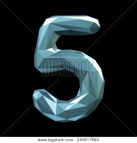 Number 5 five in low poly style isolated on black background. 3d rendering