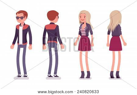 Young Man And Woman Standing. Handsome Caucasian Millennial Boy And Attractive Blonde Girl Wearing T