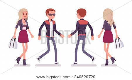 Young Man And Woman Walking. Handsome Caucasian Millennial Boy And Attractive Blonde Girl Wearing Tr