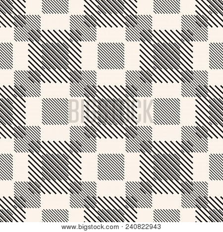 Geometric Seamless Pattern With Stripes, Diagonal Lines, Squares. Vector Abstract Checkered Texture.