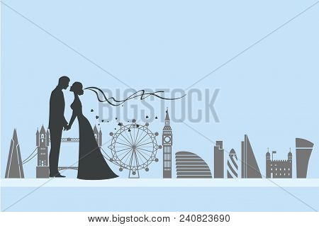 Wedding Ceremony Card. Paper Cut And Craft Style. Loving Couple In London. London Attractions As The