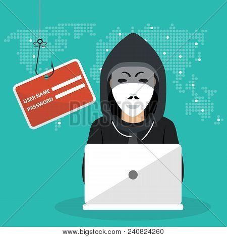 Hacking Phishing Attack. Hacker Sitting At The Desktop And Hacking Secret Data On The Laptop. World