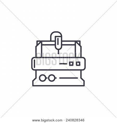 Turning Lathe Line Icon, Vector Illustration. Turning Lathe Linear Concept Sign.