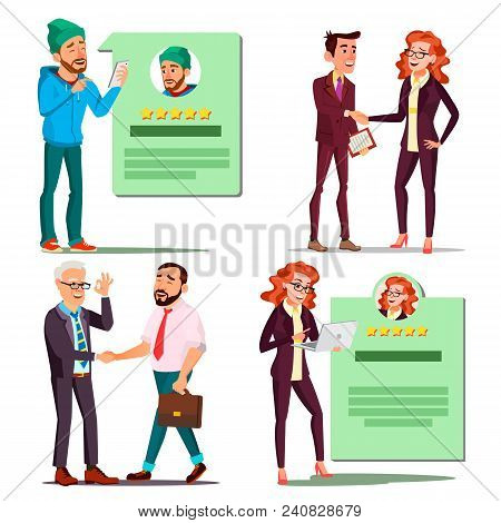 Happy Client Set Vector. Positive Rating. Smiling People. Partnership. Isolated Cartoon Character Il