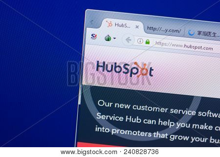 Ryazan, Russia - May 13, 2018: Hubspot Website On The Display Of Pc, Url - Hubspot.com