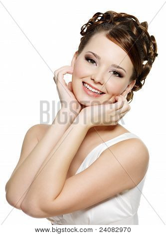 Portrait of the young smiling woman with modern brown make-up and short curly hairs poster