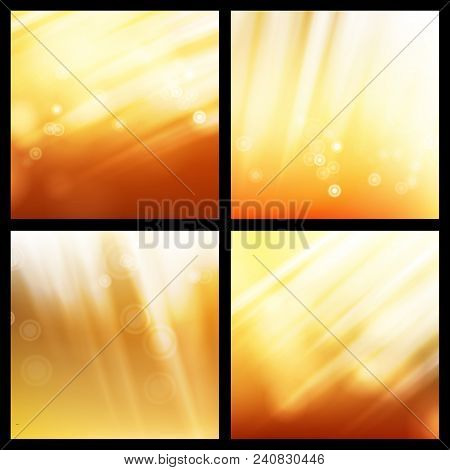Sunlight Background Set Vector. Abstract Shining Background. Glowing Explosion. Sunrise Wallpaper. S