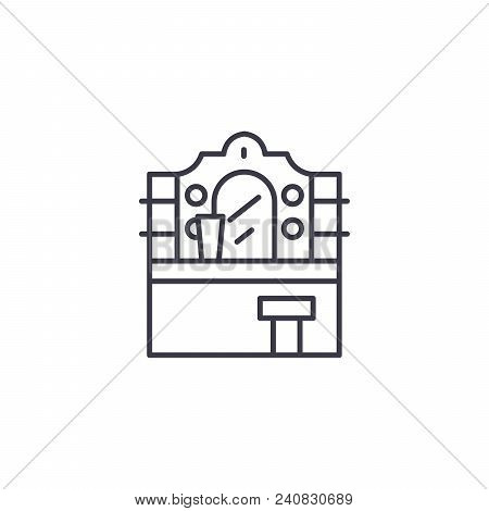 Vanity Table Line Icon, Vector Illustration. Vanity Table Linear Concept Sign.