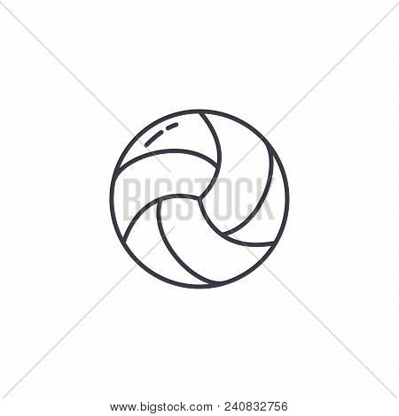 Volleyball Line Icon, Vector Illustration. Volleyball Linear Concept Sign.
