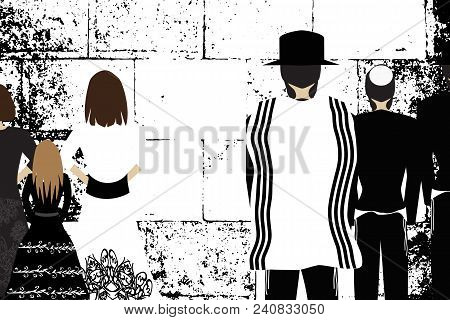 Western Wall, Jerusalem. The Wailing Wall. Religious Jewish Hasidim In Hats And Talith And Women Pra