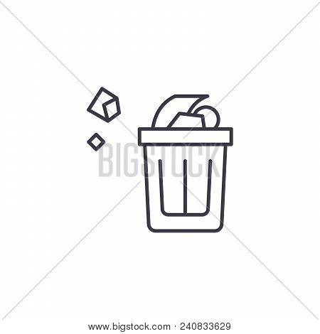 Wastepaper Basket Line Icon, Vector Illustration. Wastepaper Basket Linear Concept Sign.
