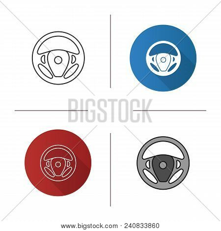 Car Rudder Icon. Flat Design, Linear And Color Styles. Steering Wheel. Isolated Vector Illustrations