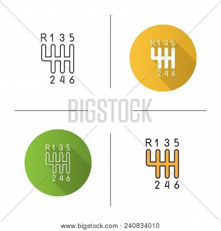 Gear Stick Icon. Flat Design, Linear And Color Styles. Gearshift. Isolated Vector Illustrations