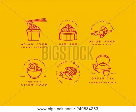Vector set of logo design templates and emblems or badges. Asian food - noodles, dim sum, soup, sushi. Linear logos, yellow and red poster