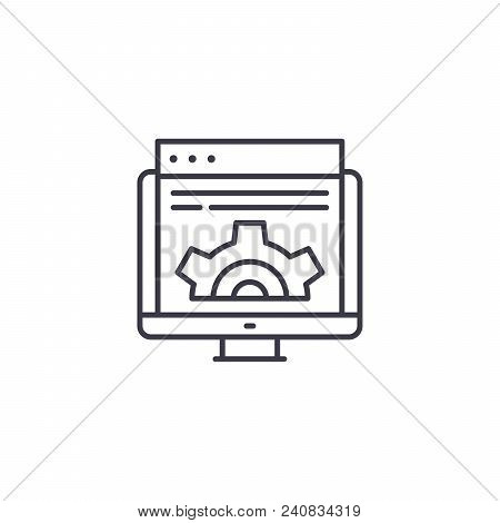 Web Development Line Icon, Vector Illustration. Web Development Linear Concept Sign.